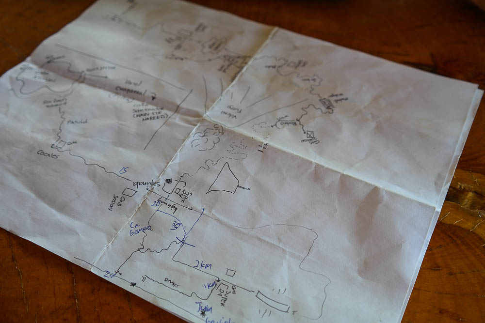 hand drawn (seriously off scale) map from the bike rental owner