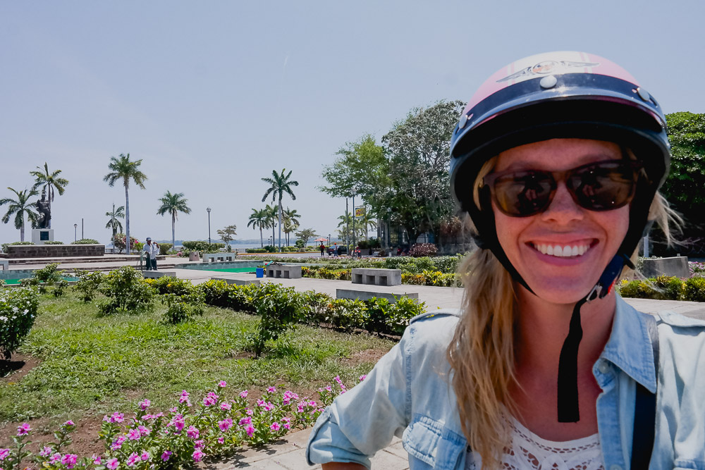 Grenada: colour coordinating my potty helmet with the pink blooms