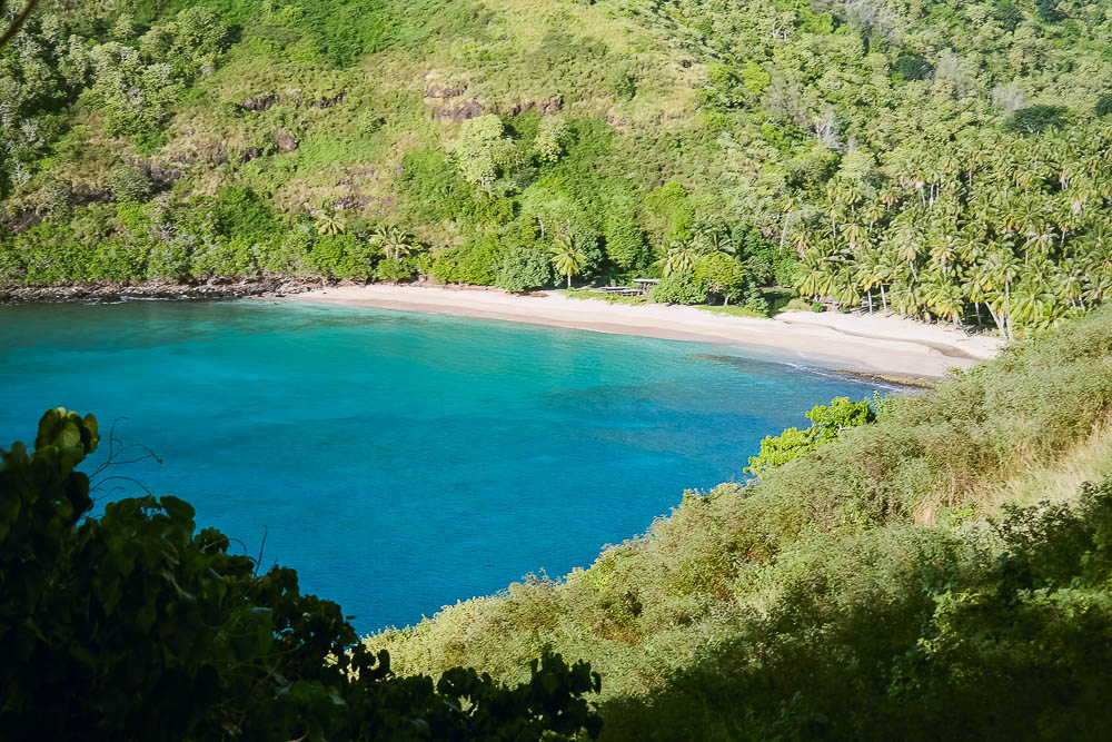 the only white sand beach on the island and quite a mission to get to but well worth it
