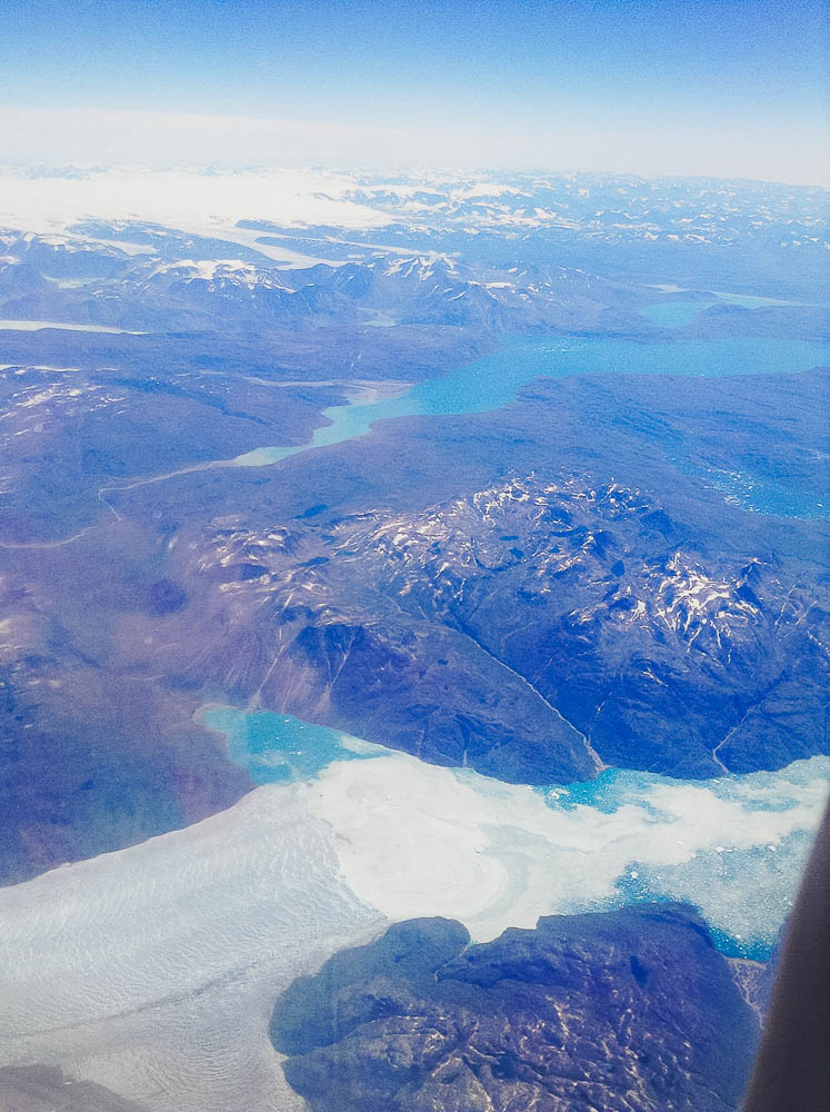 flying over the ice lakes of Southern Greenland