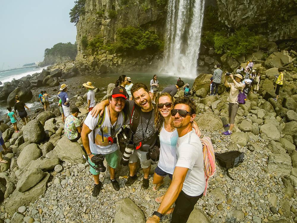 first day shooting at Jeongbang Waterfall