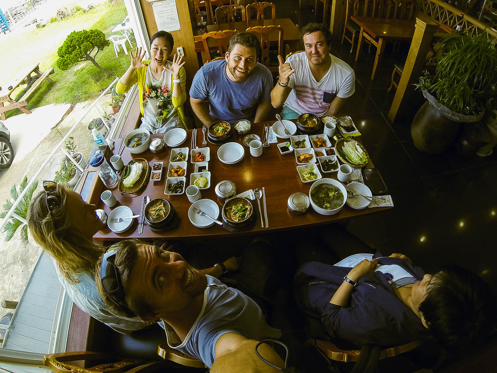 above & below: our first meal on Jeju  - L-R: Hyejin from Kia Motors, Timmy, Faan. front L-R: Kate, Rufus, Sunny our driver and guide