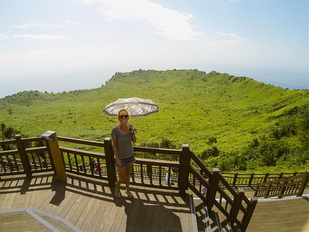 overlooking the crater of Seongsan Ilchulbong (Sunrise Peak) - UNESCO World Heritage Site