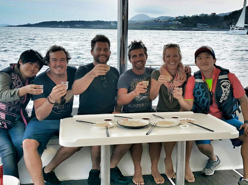 its a wrap! Sunny, Faan, Timmy, Rufus, Kate & Sun celebrating the last day of shooting on the charter yacht. Photo: Timmy Henny