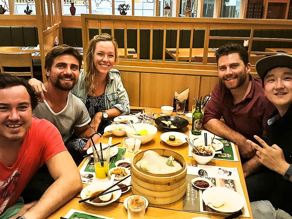 Faan, Rufus, Kate, Timmy and Sun (Kia Motors International) - our first night in South Korea,Seoul. Photo credit: Sun Hur