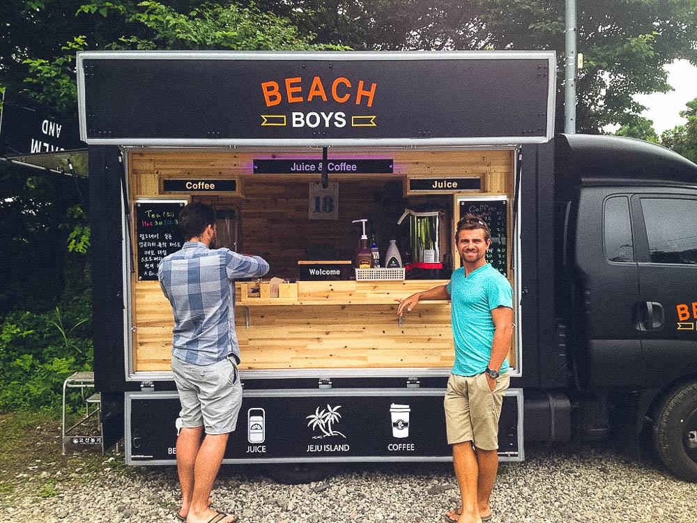 the boys taking a roadside coffee break at Beach Boys