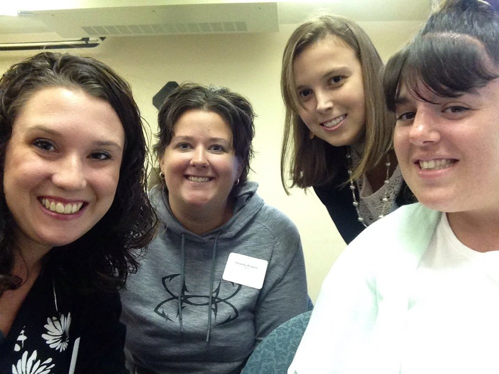 Miss Sherry, Miss Andrefski, Miss Reinert, and Mrs. Goos are having fun at their new teacher professional development meeting!