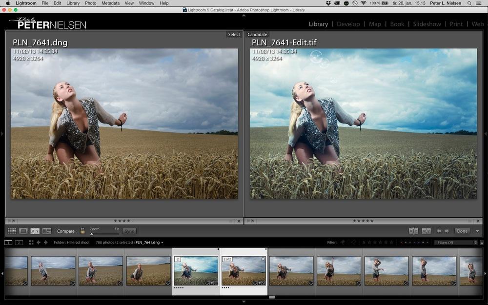 Eksempel på model billede før og efter redigering. Der er bl.a. ændret til en køligere farvetone, lysnet mørke områder, samt fremhævet modellen i billedet. Sæbebobler er desuden indsat i billedet som effekt.