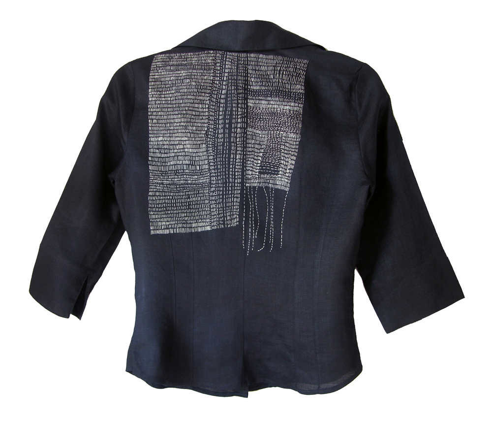 BLACK SHIRT  2011 Reclaimed linen shirt hand stitched with 70%silk/30%cotton thread  Collection, Violet Flint