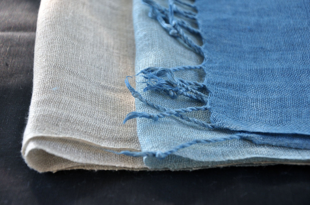 Gradation: Indigo on natural linen