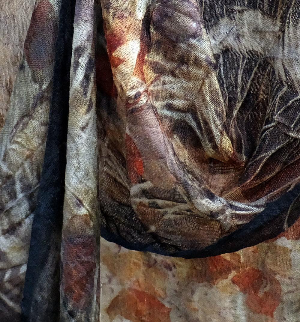 Black Walnut, onion skin, eucalyptus on wool scarf.
