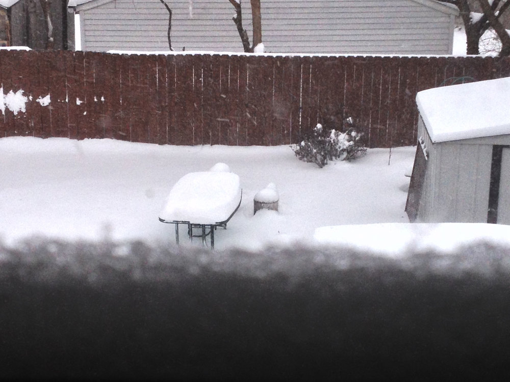 That's my table and pot. in the snow.