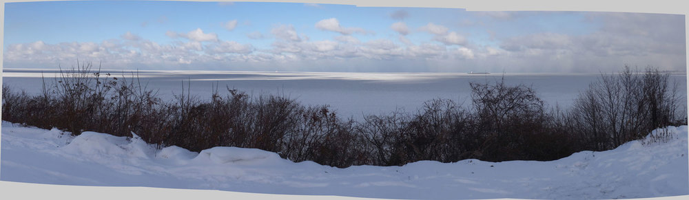 Panoramic photo of Lake Erie from my walk on Saturday, Jan. 4. you can't see it but there's a freighter on the lake.