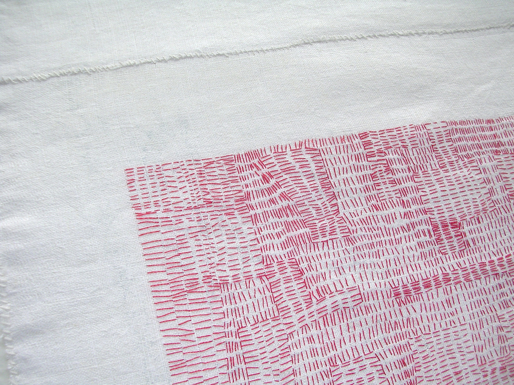 Detail Redland II, 2009, embroidery floss hand-stitched on vintage table linen. C. Mauersberger
