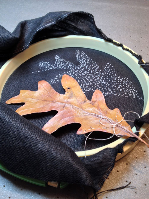 Stitched leaf, real and not.