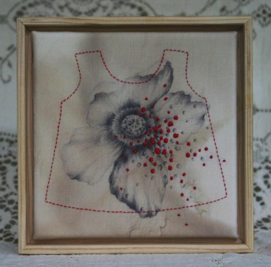 "Love     Hand stitching on antique, walnut ink stained fabric printed with   reproduction of artist's original drawing. 6"" x 6"" (limited edition of 6)    ©ErinDaniels"