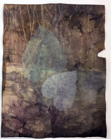 Eco print then mrnoprinted using 2 dried Catalpa leaves with oil based inks.