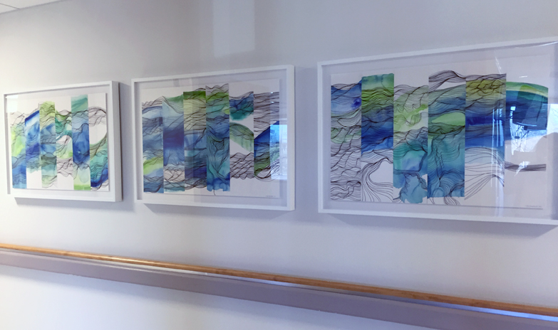 "Waves Series I, II, and III, watercolor and pen on paper, 2015. ©Christine Mauersberger. Size 36"" x 24"" unframed each. Commission for Southwest General Hospital"
