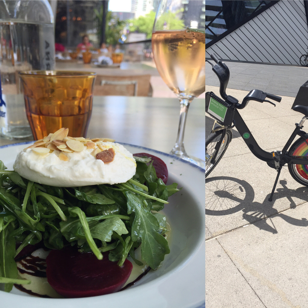My lunch and rental bike in Toronto.