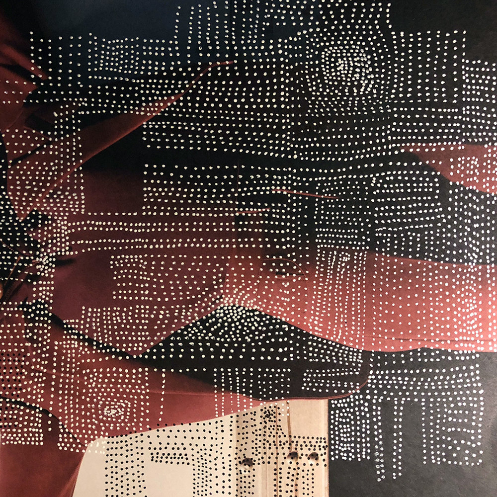 White gel pen (Sakura brand) drawn dots on the cover of Barneys New York Fall 2018 catalog.