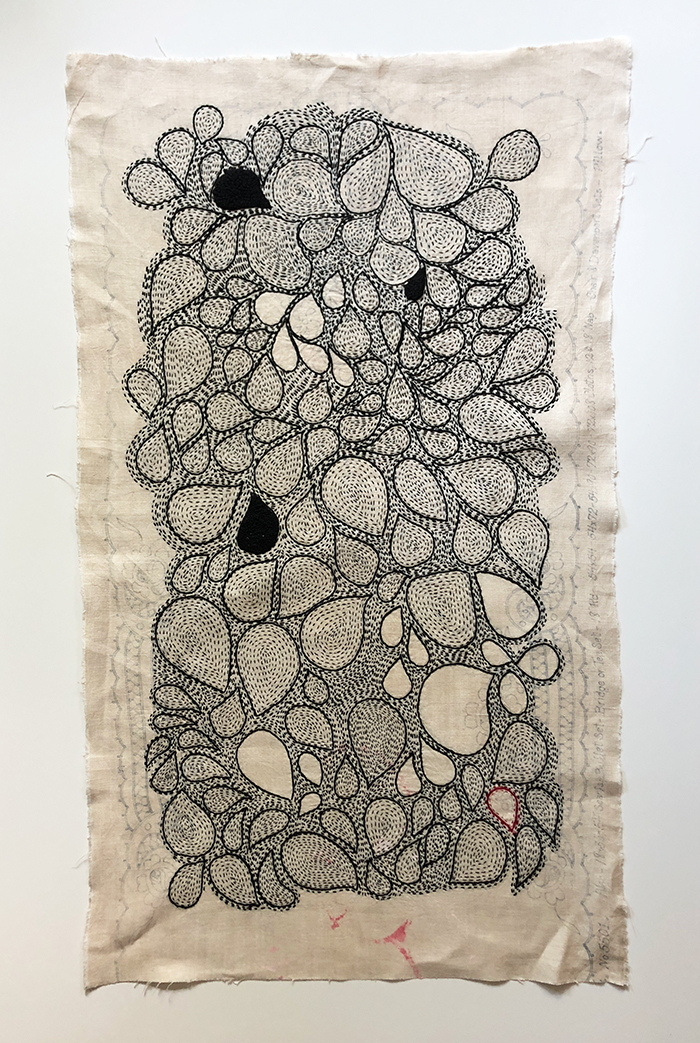 """DRESSER SCARF WITH BLUE LINES FOR EMBROIDERY 2017 Hand stitched: black cotton embroidery floss and red silk 18"""" x 36"""""""