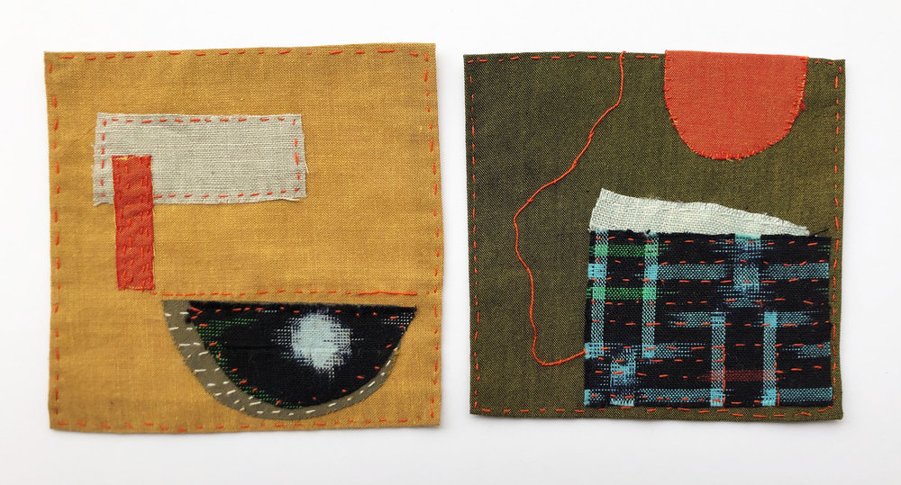 """Two small stories. These are each 4"""" x 4"""" inches and are samples of what I made while listening to a story."""