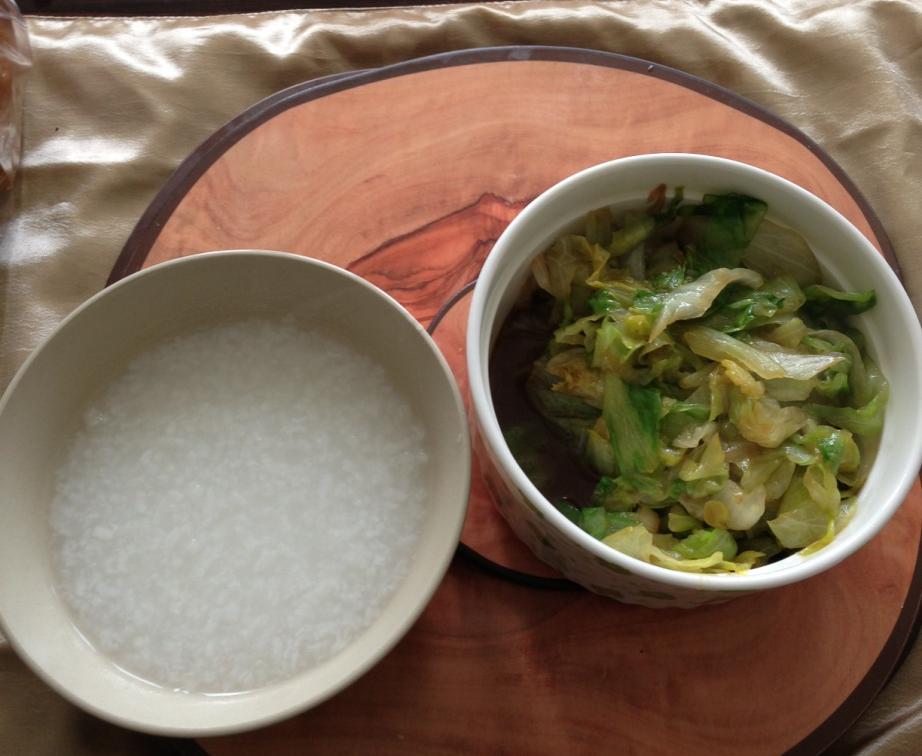 Dinner: Chinese Porridge + fried lettuce