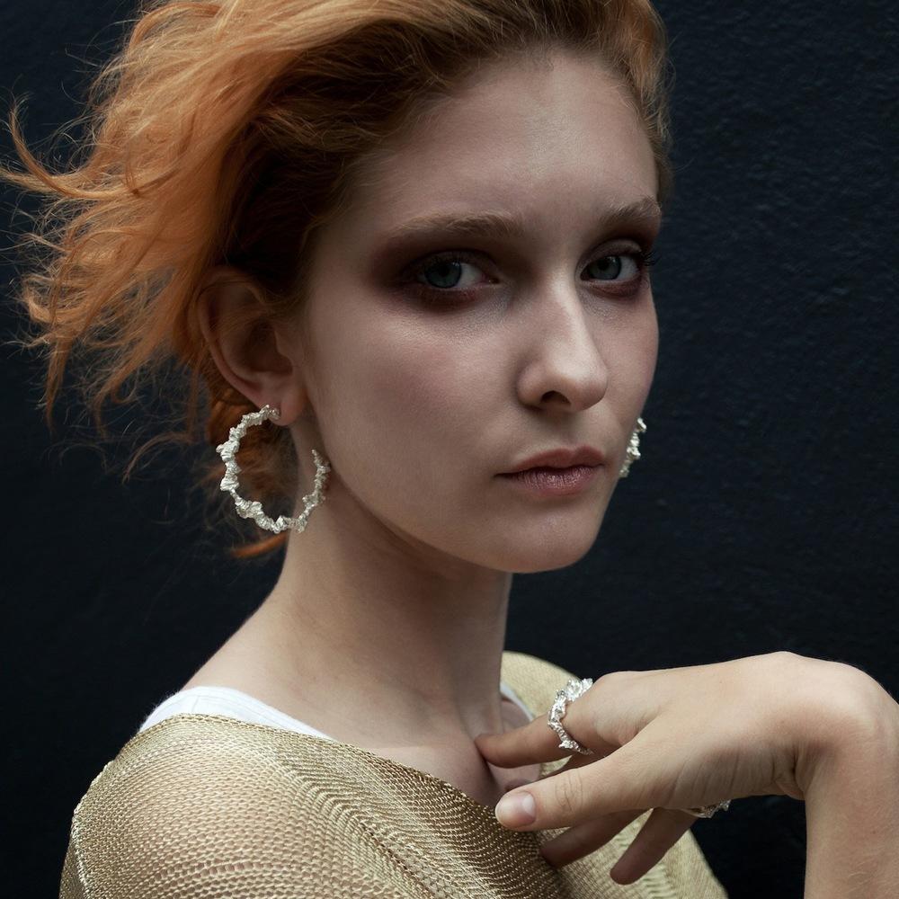 Niza Huang: Under Earth Irregular Hoop Earrings - Gold | Jewelry > Earrings,Jewelry -  Hiphunters Shop