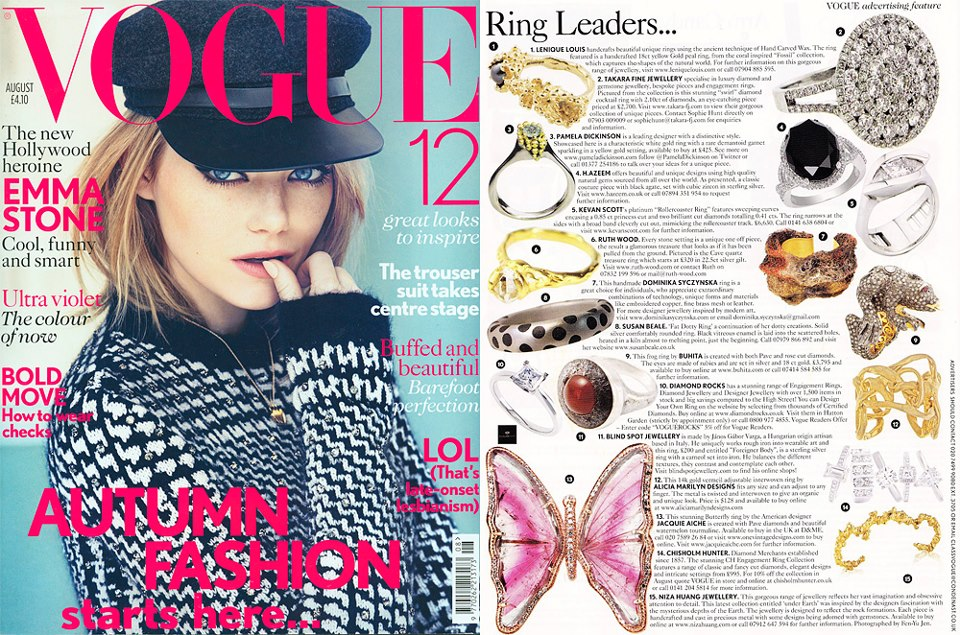"""Under Earth"" irregular knuckle duster ring is featured in Vogue August issue"