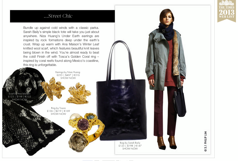 Under Earth Irregular gold studs - Street Chic on Boticca  http://boticca.com/  boticca-styles/  31-philip-lim-sara-baily-ba  g-and-silver-accessories/