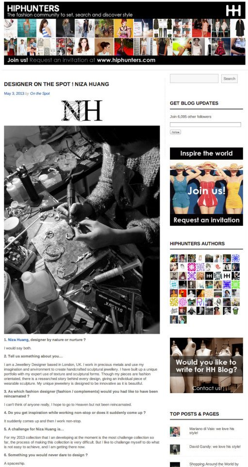 Featured at Hiphunter 'Designer on spot !' http://  blog.hiphunters.com/2013/  05/03/  designer-on-the-spot-niza-h  uang/