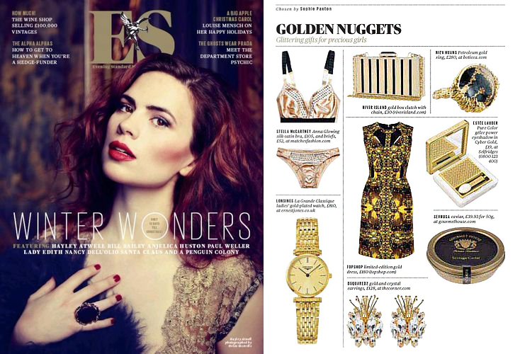 PETROLEUM gold ring was featured on Evening Standard magazine Dec 2012