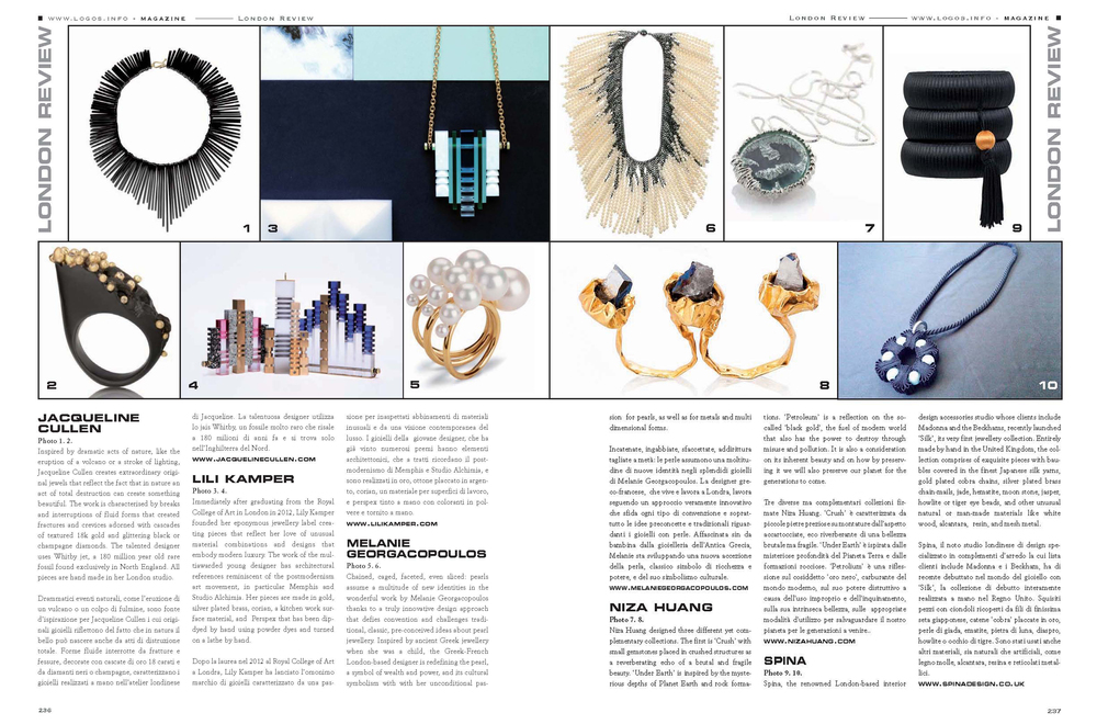 Featured on Italian magazine Accessori S/S 2014