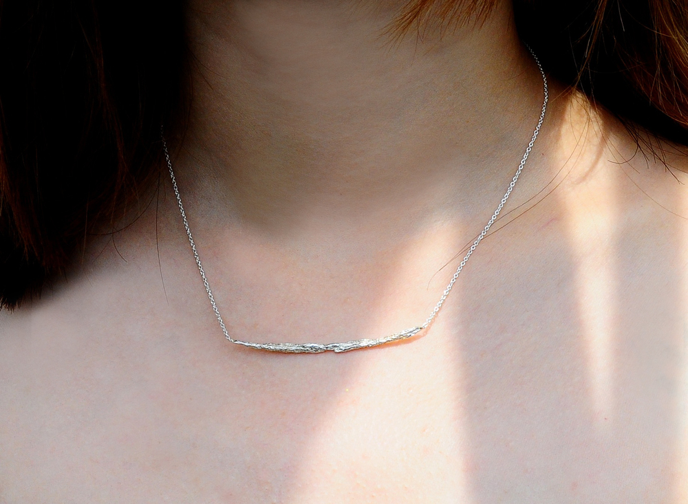Niza Huang: Illusion Long Stick Necklace - Silver   Jewelry > Necklaces,Jewelry -  Hiphunters Shop