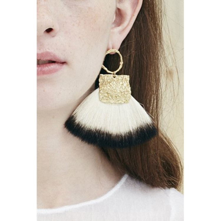 Niza Huang: Canvas Circle Large Fan Brush Earrings | Jewelry > Earrings,Jewelry -  Hiphunters Shop