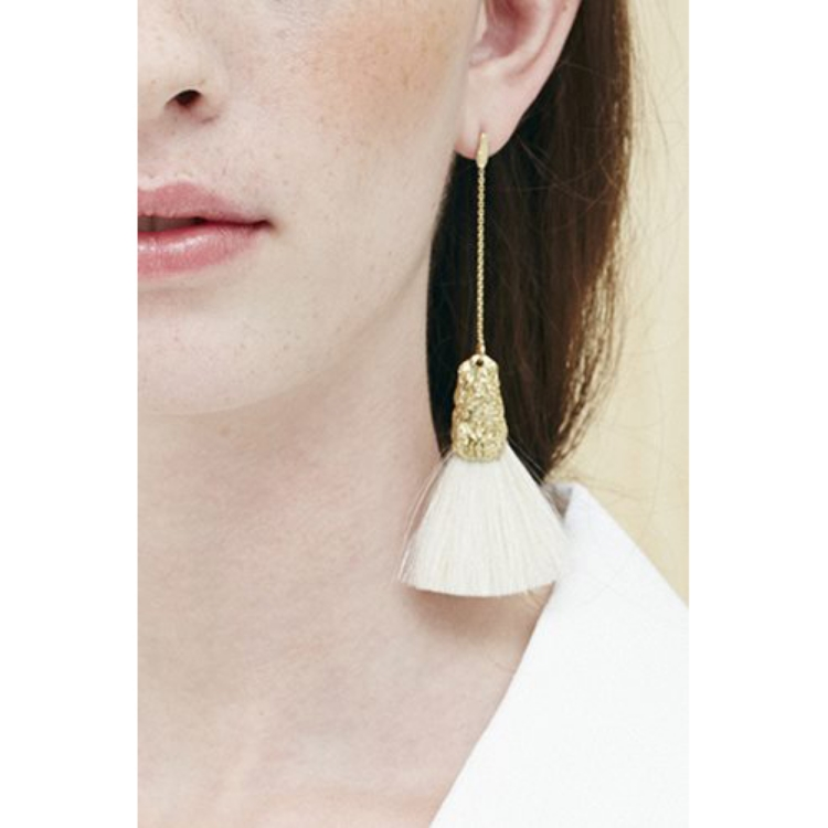 Niza Huang: Canvas White Small Single Fan Brush Earrings | Jewelry > Earrings,Jewelry -  Hiphunters Shop