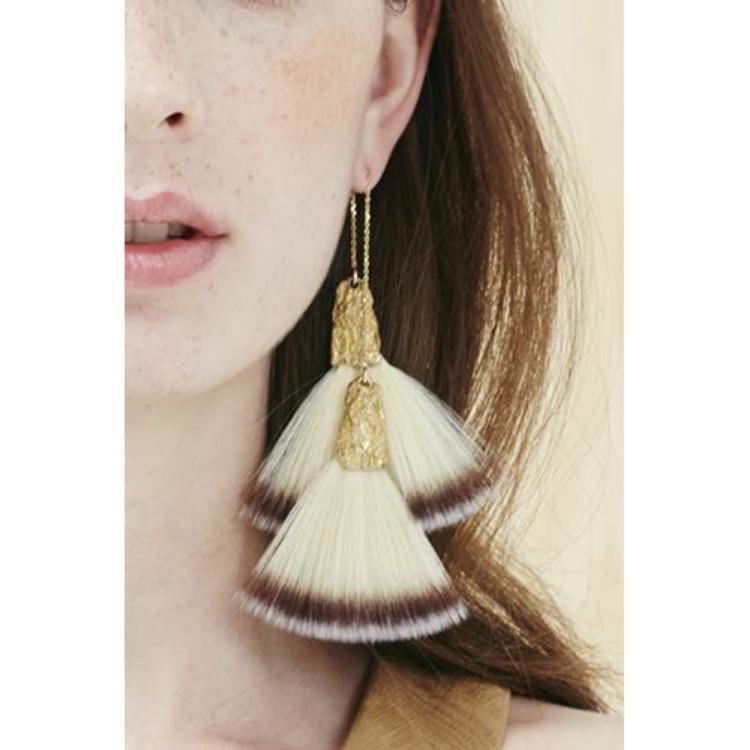 Niza Huang: Canvas 2 Toners Small Double Fan Brush Earrings | Jewelry > Earrings,Jewelry -  Hiphunters Shop