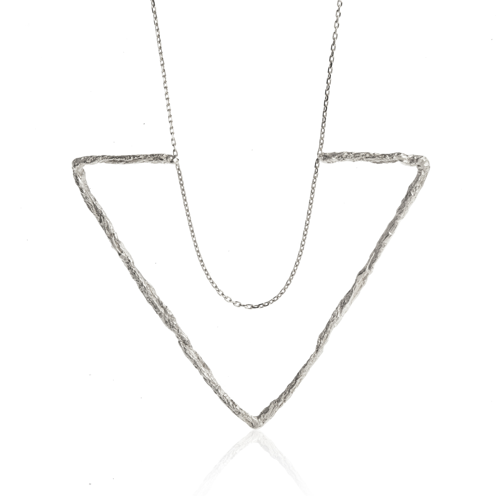 Niza Huang: Delta Large Triangle Necklace-Silver | Jewelry > Necklaces,Jewelry -  Hiphunters Shop