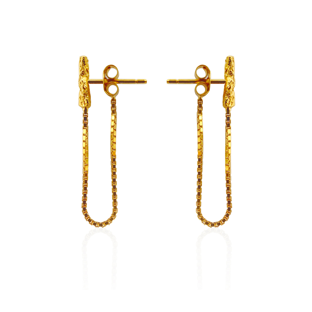 Niza Huang: Illusion Chain Studs - Gold | Jewelry > Earrings,Jewelry -  Hiphunters Shop