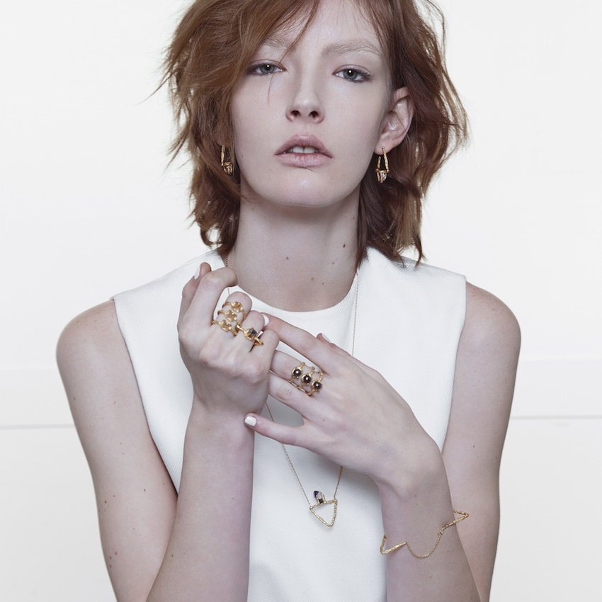 Niza Huang: Delta Triangular Bracelet - Gold | Jewelry > Bracelets,Jewelry -  Hiphunters Shop