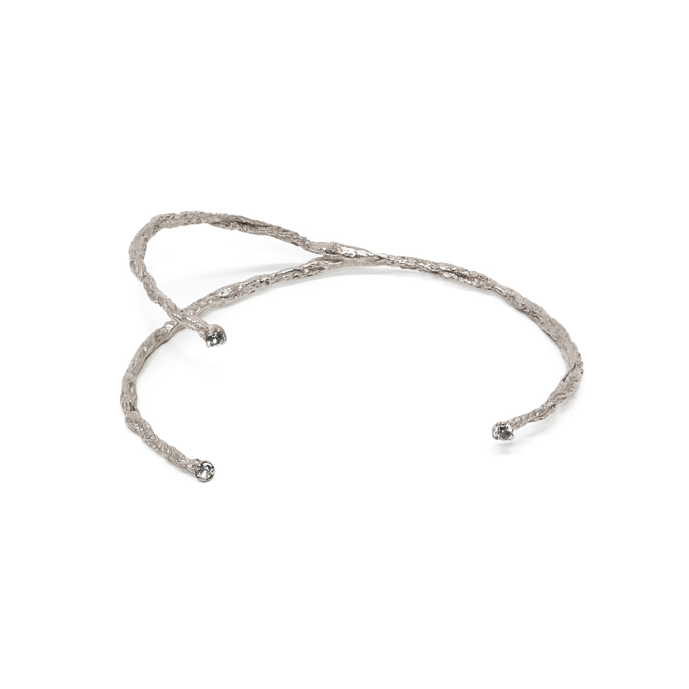 Niza Huang: Moments 3 Stones Bangle - Silver | Jewelry > Bracelets,Jewelry -  Hiphunters Shop