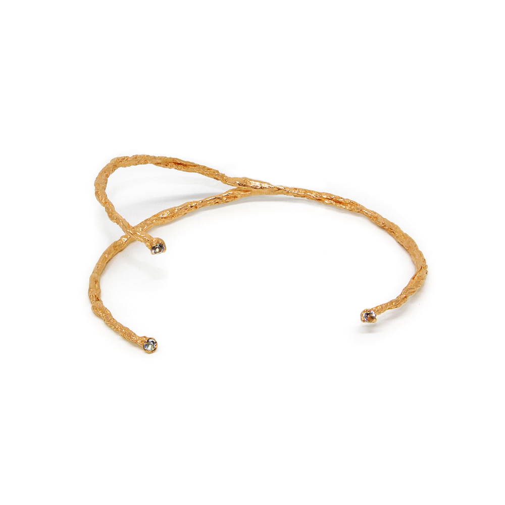 Niza Huang: Moments 3 Stones Bangle - Gold | Jewelry > Bracelets,Jewelry -  Hiphunters Shop