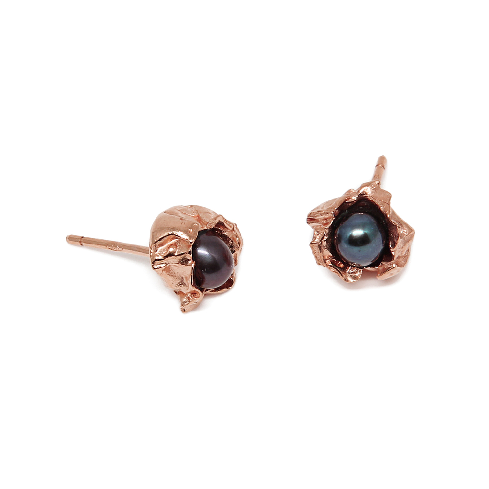 Niza Huang: Crush Small Stone Studs - Rose Gold | Jewelry > Earrings,Jewelry -  Hiphunters Shop