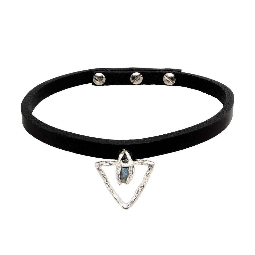 Niza Huang: Delta Stone Leather Choker | Jewelry > Necklaces,Jewelry -  Hiphunters Shop