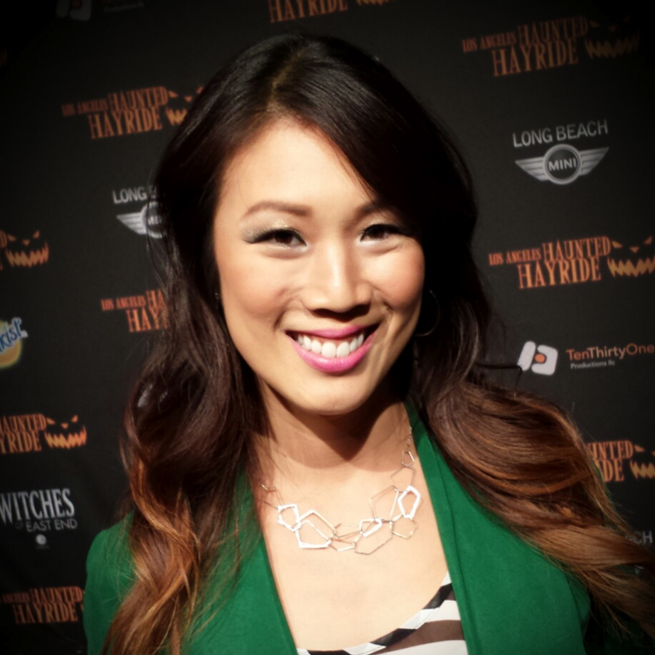 Chi-Lan Lieu is wearing our Geo Dimension necklace at the Haunted Hayride at Griffith Park October 26th, 2013.
