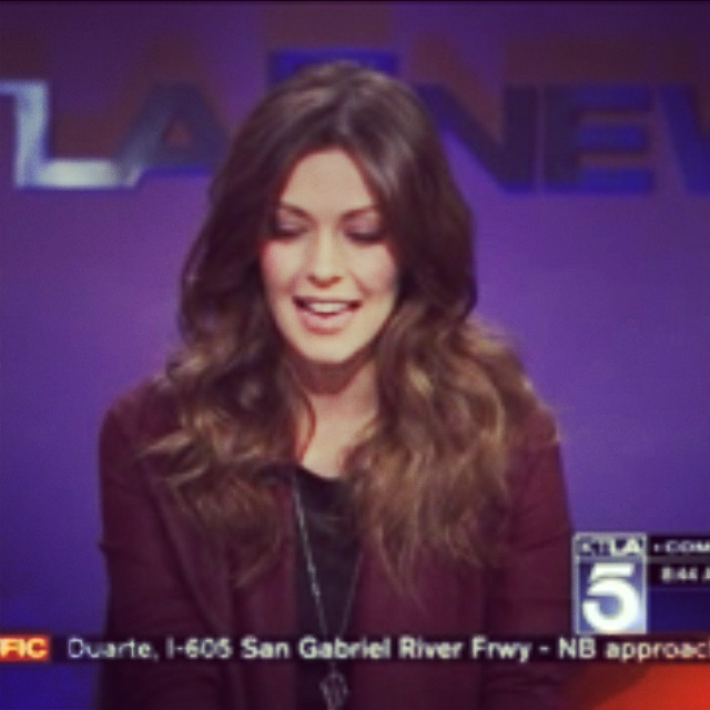 The Vampire Diaries star Olga Fonda was wearing our Caged amethyst pendant on the KTLA News interview on November 28, 2013.