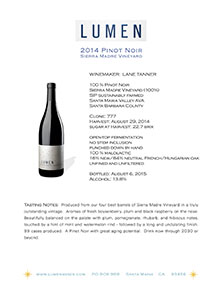 Pinot Noir Sierra Madre Tech Sheet