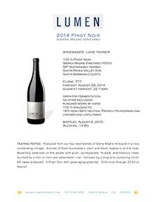 Sierra Madre Pinot Tech Sheet