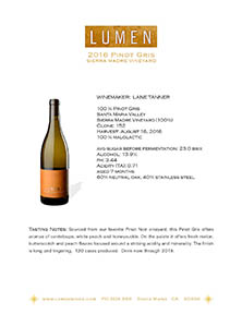 Pinot Gris Sierra Madre Tech Sheet