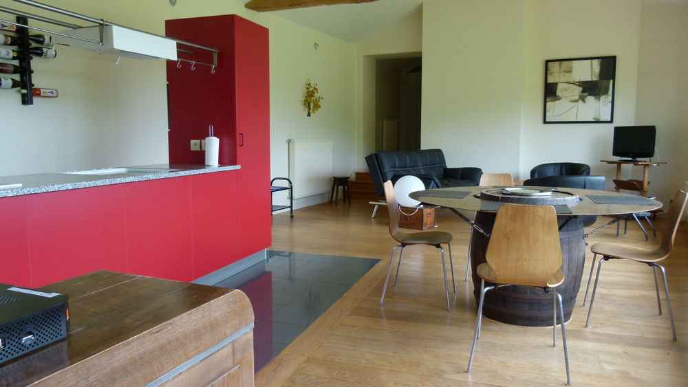 The Gîte kitchen and dining area